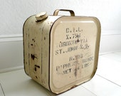 Old Metal Industrial Chemical Container with Writing