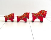 Trio of Vintage Red Dala Horses