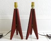 Pair of Mid Century Danish Modern Teak Lamps - Side Table, Space Age, Eames Era