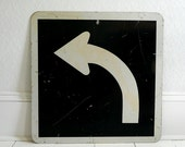 Black and White Arrow Road Sign - 70s, Industrial, Graphic