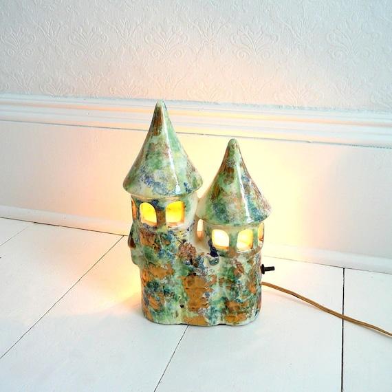 Unique Vintage Ceramic Castle Light