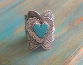 Sterling silver and Turquoise wide band ring