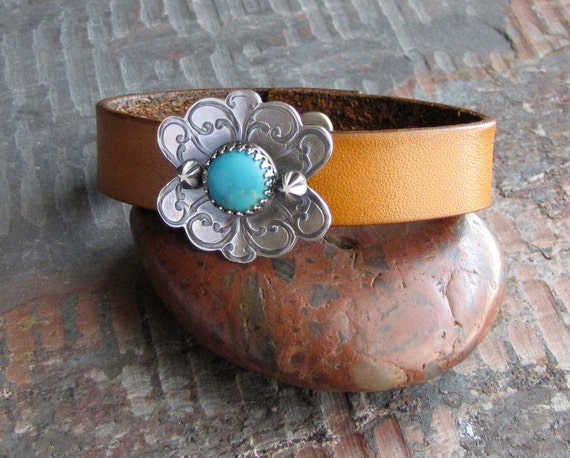 Flamenco Bracelet Leather Sterling Silver and Turquoise