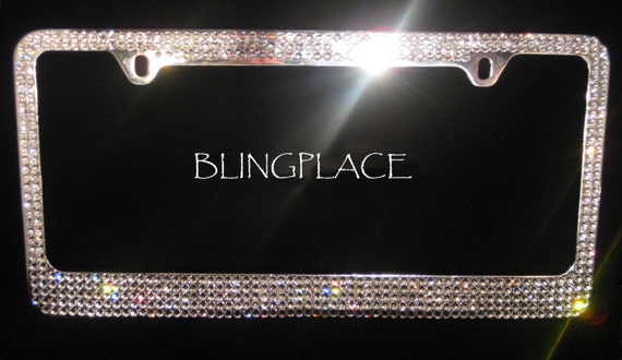 Swarovski Crystal Rhinestone License Plate Frame 5 Rows