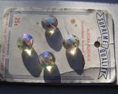 Aurora Borealis Glass Buttons On original card Western Germany set