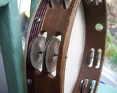 Tambourine musical Instrument wooden Skin Percussion Double Row