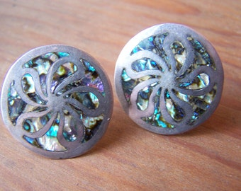 Earrings Sterling and Abalone Mexico Screw on Taxco VINTAGE by Plantdreaming