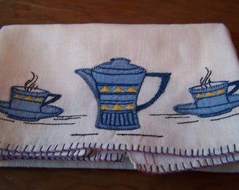 Tea Towel embroidery coffee pot kitchen Deco VINTAGE by Plantdreaming