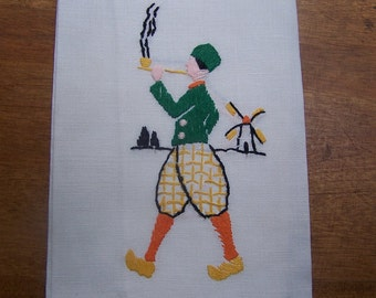 Hand towel Dutch Boy smoking a pipe hand embroidered VINTAGE by Plantdreaming