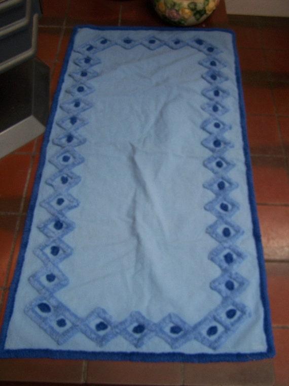 Chenille Dresser Scarf Table Runner BLUE