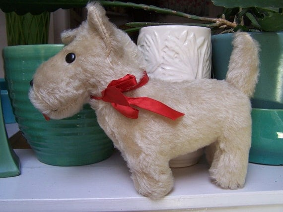 Scotty Stuffed Toy Dog Terrier Antique mohair So Cute