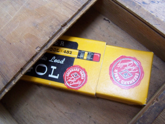 SALE Old wooden slide top box with Eberhard Faber Mongol pencils lot for your desk