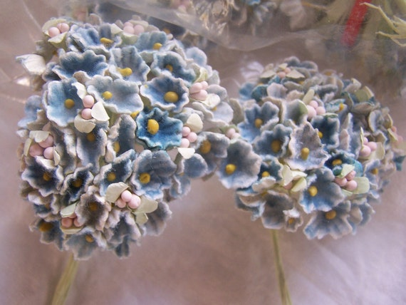 Millinery Flower lot of 12 bouquets nosegay Vintage old new stock embelishment BLUE