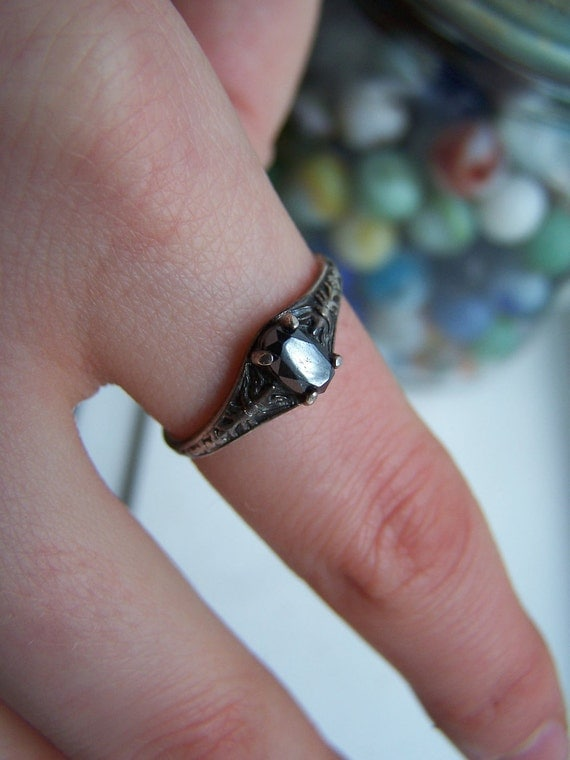 Hematite sterling signed ring size 9.5