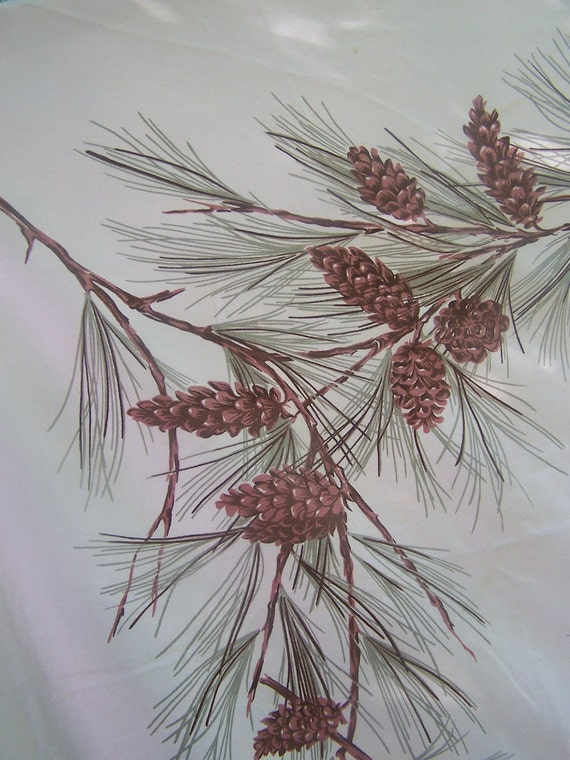 Vintage Tablecloth California Hand Prints Pink pinecone