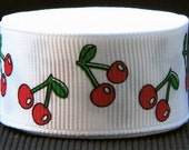7/8 inch wide Grosgrain Ribbon---------1 Yard--------Cherries Cherry-------RED WHITE GREEN