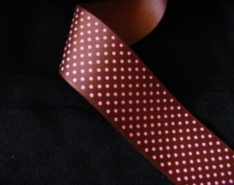 DISCONTINUE SALE----1.5 inch Grosgrain Ribbon-------3 Yards-----Swiss Dots-----Brown with Pink-----Hair bow Making Supplies