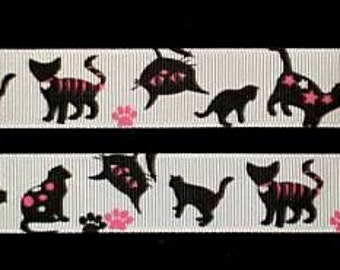 "SALE----7/8"" Inch Grosgrain Ribbon---3 Yards---CATS---White Hot Pink Black"