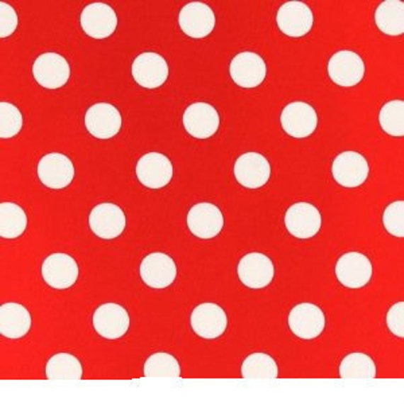 1 yard---SMALL Polka Dots--RED with WHITE Dots