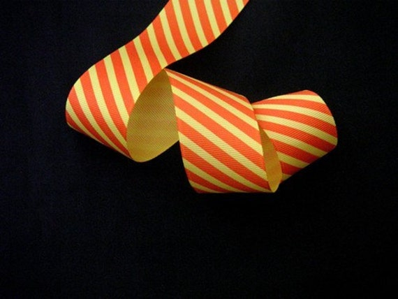 DISCONTINUED SALE----1.5 inch wide Grosgrain Ribbon---------3 YARDS------Stripes------Orange Yellow