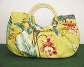 SALE Luau HANDBAG TOTE, cane handles, yellow print