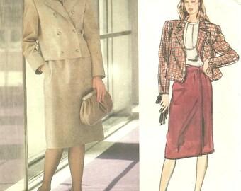 Vogue 1281  Bill Blass Jacket Skirt 1980s size 10