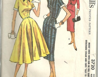 Vintage McCalls 3720 Dress Pattern year 1956 size 16
