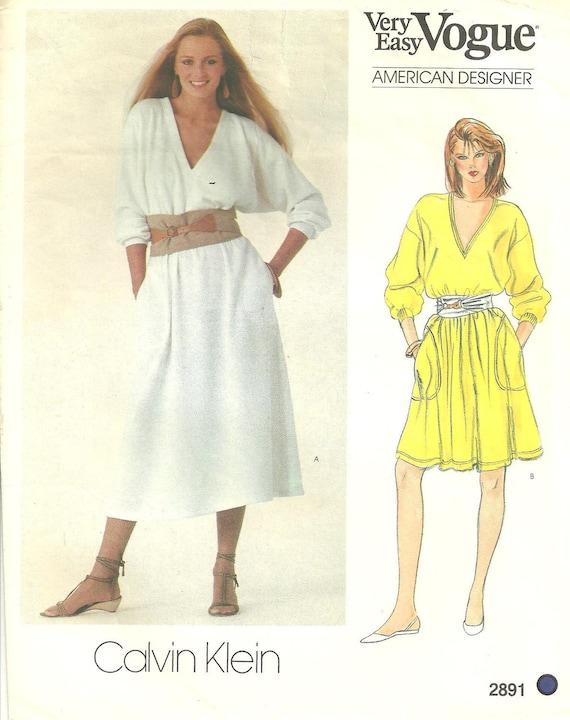 Vogue 2891 Pattern Dress Calvin Klein 1970's size small