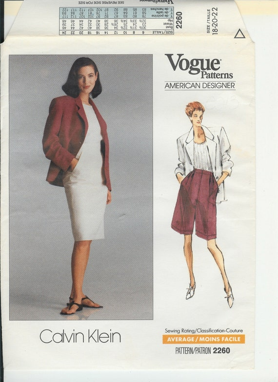 Vogue 2260 Calvin Klein Jacket Shorts Skirt 1989 sz 18 20 22 Vintage