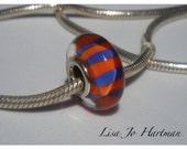 Orange with Blue Stripes Pandora/Troll/Biagi Style Bead