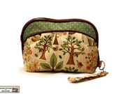 Zippered clutch sewing pattern, makeup bag pattern, cosmetics bag pattern  -- PDF -- spring forest