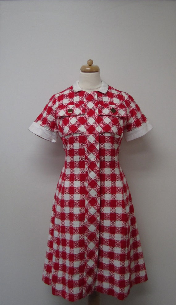 Vintage Red & White Checked Cotton / Linen 60's Shift Dress