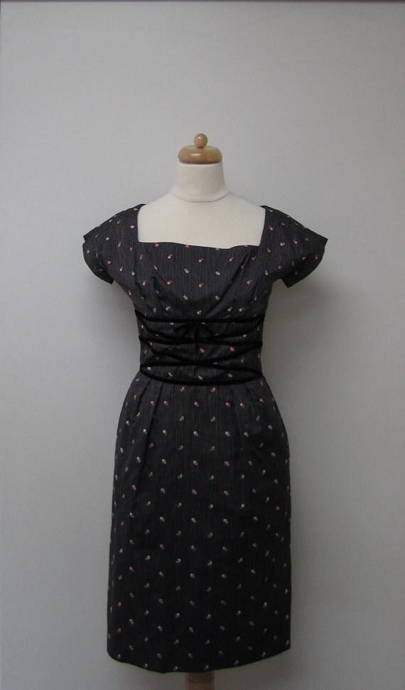Vintage Black Striped / Embroidered Floral Empire Dress