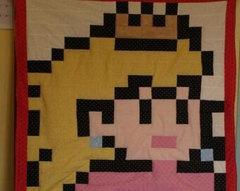 Lil Geek Princess Peach Mario Crib Quilt