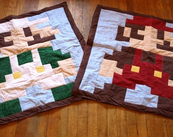 Lil Geek Twins Mario & Luigi Crib Quilts Classic or Modern Color Scheme