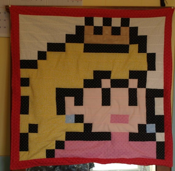 Lil Geek Princess Peach Mario Crib Quilt