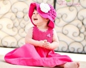 Summer Sun Hat - Any Color - Boutique Open-Weave Flippy Brim Hat Sizes for Preemie, Baby, Toddler