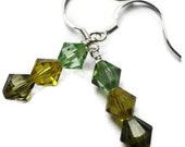 Swarovski Crystal Earrings, Sterling Silver, Wire Wrapped, 6mm, Green, Peridot, August, Lime, Olivine, Yellow, Citrus, Summer, Bright