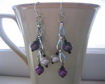Beaded Earrings, Wire Wrapped, Pewter, Chrome, Silver tone, Upcycle, Recycle, Pearl, Purple, Grape, Grey, Reuse, Round, Slate