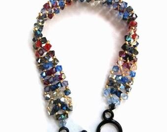 Swarovski Crystal Bracelet, Seed Bead, Right Angle Weave, Random, Mix, Scrap Quilt, Blue, Red, Purple, Black, Gold, Chevron, RAW, Amethyst
