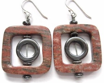 Gemstone Earrings, Window, Wire Wrapped, Red, Jasper, Hematite, Tribal, African, Mineral, Grey, Gray, Fire, Black, Dramatic, Square, Bold