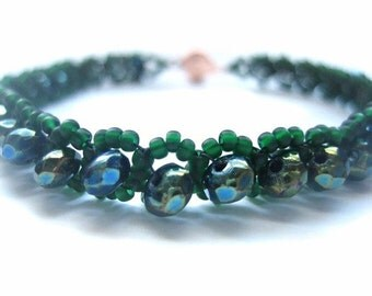 Tennis Bracelet, Seed Bead, Rondelle, Right Angle Weave, Christmas, Emerald, Green, Irish, St Patricks Day, Fresh, Evergreen, March, Teal