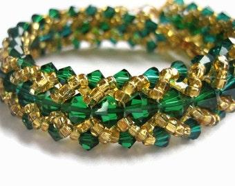 Packer Bracelet, Swarovski Crystal, Seed Bead, Green, Gold, Emerald, Yellow, NFL, Green Bay, Football, Irish, St. Patricks Day, Ireland