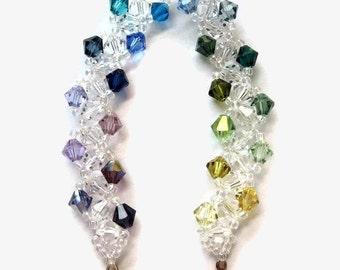 Swarovski Crystal Bracelet, Seed Bead, Clear, Colorful, Gay Pride, Rainbow, Purple, Blue, Green, Yellow, Sunset, Summer, Carribean