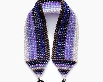 Seed Bead Bracelet, Herringbone, Stripes, Purple, Lavender, Iris, Plum, Violet, Beaded, Tanzanite, Royal, Rich, Amethyst, February