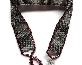 Seed Bead Bracelet, Peyote Stitch, Delica, Stripes, Red, Maroon, Crimson, Grey, Gray, Silver, Metallic, Burgandy, Beaded