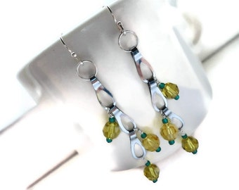 Beaded Earrings, Swarovski Crystal, Chrome, Wire Wrapped, Dangle, Green, Gold, Packer, Green Bay, Yellow, Football, NFL, Drops, Sunshine