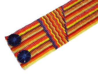 Seed Bead Bracelet, Peyote Stitch, Cuff, Delica, Fall, Autumn, Red, Yellow, Orange, Purple, Stripes, Warm, Bright, Bold