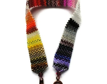 Seed Bead Bracelet, Peyote Stitch, Delica, Stripes, Colorful, Rainbow, Mixed, Purple, White, Black, Pink, Red, Orange, Yellow, Brown, Ombre