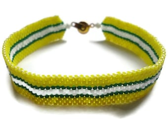 Seed Bead Bracelet, Peyote Stitch, Delica, Packer, Stripes, Green, Gold, Evergreen, Emerald, Yellow, Green Bay, Football, NFL